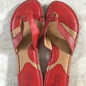Coral Red Leather Flip-flop sandal